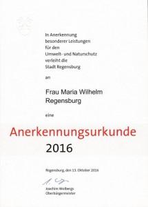 Urkunde Umweltpreis 2016 Fam. Wilhelm