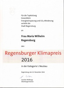 Urkunde Wilhelm Klimapreis 2016